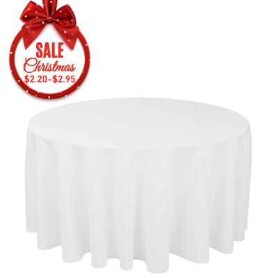 90R white round polyester table cloth factory