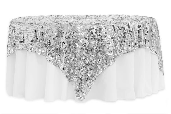 "90""x90"" Square Large Payette Sequin Table Overlay Topper"