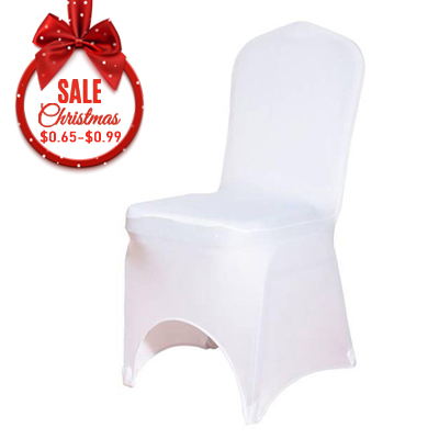 Cheap white arched front spandex chair covers factory