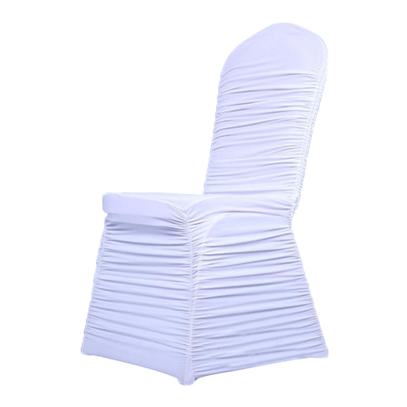 White ruched spandex chair covers wedding decoration supplier