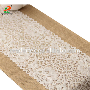 30x180cm Luxury Burlap And Lace Table Runner Wedding Decoration Modern Jute Lace Table Runners Vintage Tablecloth Home Textile