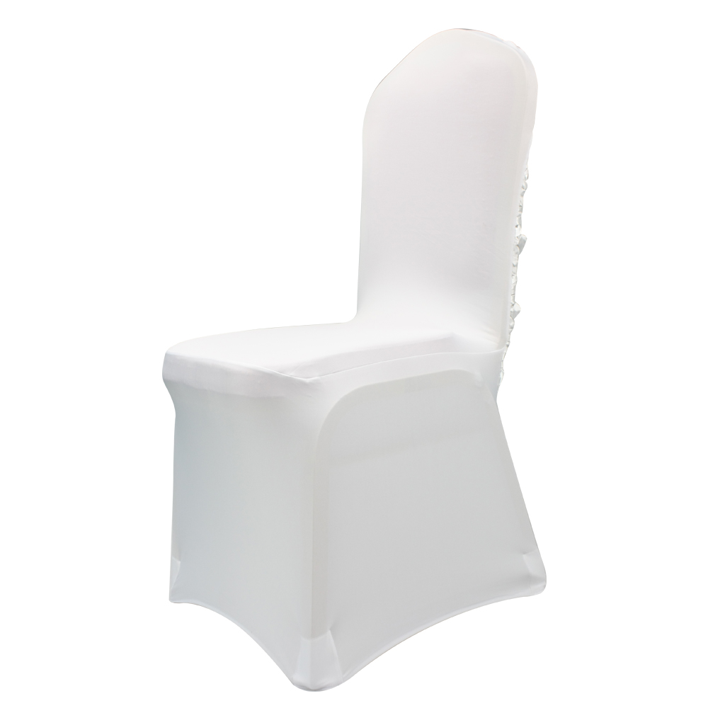 190 or 165 GSM White Stretch Spandex Banquet Chair Cover With Foot Pockets