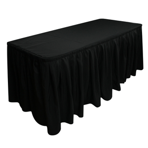 Fancy Rectangle Black Pleated Polyester Banquet Wedding Ruffled Curly Willow Table Skirt