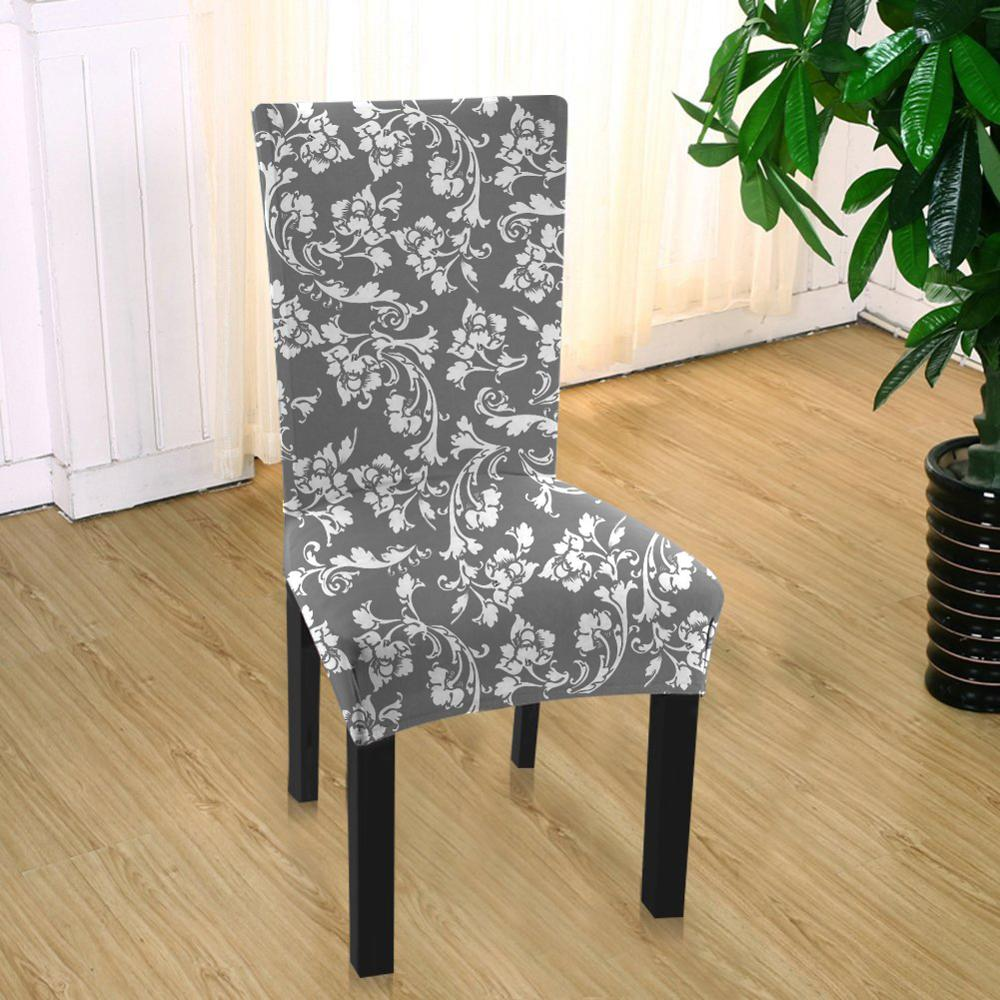 Spandex Fit Stretch Dining Room Chair Covers with Printed Pattern, Banquet Chair Seat Protector Slipcover for Home Party