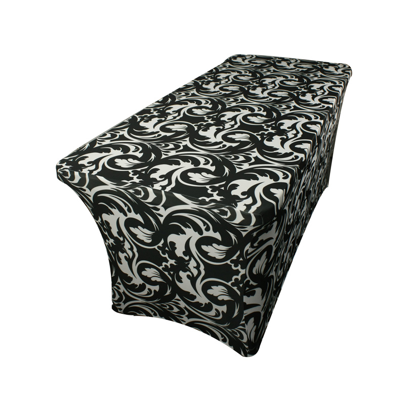 Cheap rectangle black custom 6ft floral printed stretch spandex banquet table cloth factory
