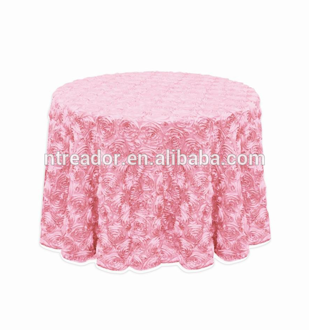 elegant white wedding ceremony rosette satin table cloth tablecloths banquet