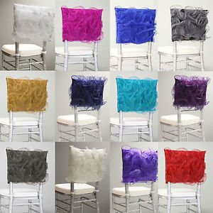 New Sheer Organza Floral Chair Hood Bow