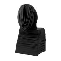 Black Swag Back Ruched Spandex Banquet Chair Cover factory