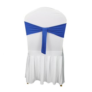 Wholesale Cheap Blue Spandex Satin Chair Sashes Bow For Banquet Party Event Wedding Decoration