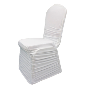 White Color Polyester Stretch Ruched Spandex Chair Covers,Modern Thickening Stretchy Slipcover for Wedding Banquet Anniversary Party Home Decoration